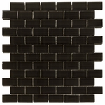 Pure Night Brick Shiny Mosaic Glass Tile 8mm