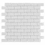 Pure Snow Brick Mix Glass Tile 8MM