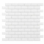 Pure Snow White Brick Mosaic Matte Glass Tile 8mm