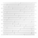 Pure Snow White Stick Matte Mosaic Glass Tile 8mm