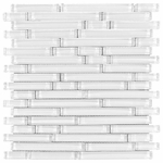 Pure Snow White Stick Shiny Mosaic Glass Tile 8mm