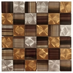 Santa Vincent Brick Mosaic Glass & Metal Tile 8mm
