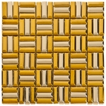 Silver-Gold Bars Mosaic Metal Tile