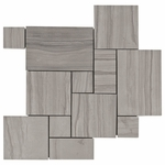 Valentino Gray Patterned Mosaic Marble Tile