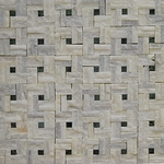 White & Green Dot Mosaic Marble Tile