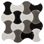 White Black and Gray Interwoven Glass Mosaic