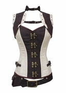 005 Cream and Brown Brocade Steel Boned Corset