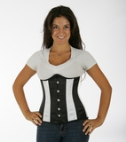 045 Black and White Satin Double Steel Boned Underbust Corset