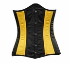045 Black and Yellow Satin Double Steel Boned Underbust Corset