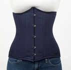 045 Navy blue cotton Double Steel Boned Underbust Corset