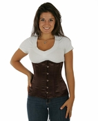 045 Brown Satin Double Steel Boned Underbust Corset