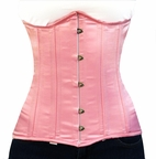 045 pink Satin Double Steel Boned Underbust Corset