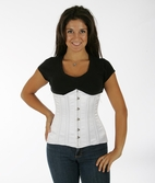 045 White Satin Double Steel Boned Underbust Corset