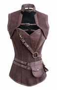 1000 Brown Canvas Jute Steampunk Corset