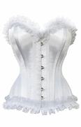 1005 White Satin Wedding Corset with lace trim.