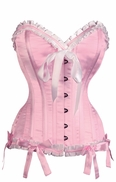 1013 Pink Satin Authentic Corset with Bows*No Returns