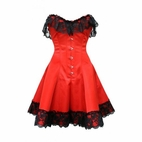 1041 Red Satin Skirted Corset with Black Lace Trim