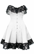 1042 White Satin Skirted Corset with Black Lace Trim
