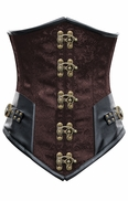 1293 Brown Steel Boned Steampunk Underbust Corset with Black Faux Leather