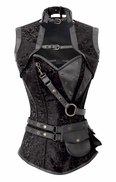 1294 Black Brocade Steampunk Steel Boned Corset
