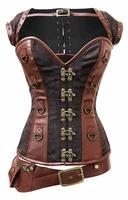1295 Brown Steel Boned Steampunk Corset with Jacke and Belt