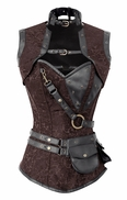 1307 Steel Boned Steampunk Corset with Jacket and Belt