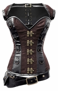 1308 Black and Brown Steampunk Corset with Removable Jacket and Belt