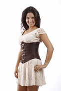 1313 Brown Steel Boned Underbust Corset