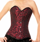157 Red Brocade Authentic Overbust Corset