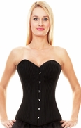 163 Black Striped Brocade Steel Boned Overbust Corset