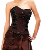 313 Steam Punk Style Overbust Corset with chain detail.