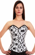 339 White Floral Tissue Steel Boned Corset-special order