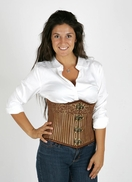 6010 Golden Striped Steampunk Underbust Corset