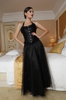7017 Long Satin and Mesh Skirt