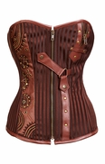 804 Brown Striped Steampunk Corset**No Returns