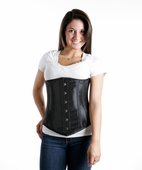 8100 Black taffeta Longer Underbust Waist Training Corset
