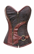 819 Brown Brocade Steampunk Corset-Special Order