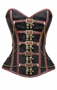 824 Black Brocade Steampunk Corset