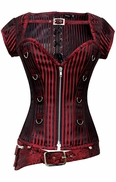 831 Black and Red Brocade Overbust Corset