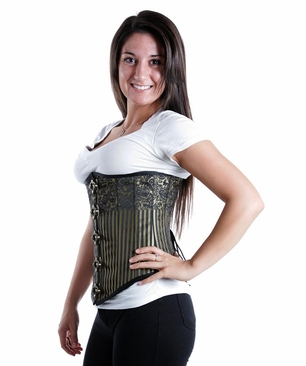 9000 Black and Gold Steampunk Underbust Corset