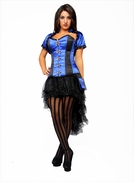 9002 Black and Blue Satin Steel Boned Corset and Jacket-Special Order