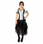 9003 Black and White Brocade Corset and Jacket Set with Removeable Pouches.