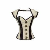 9006 Ivory and Brown Steampunk Corset Jacket and Belt