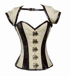 9006 Ivory and Brown Steampunk Corset Jacket