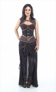 9010 Black and Brown Brocade Steampunk Corset
