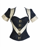 9011 Ivory and Black Steampunk Corset and Jacket