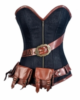 9015 Black Brocade Steampunk Corset