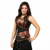 9020 Black Brocade Steampunk Corset