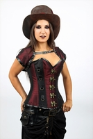 9021 Bugundy and Black Taffeta Steampunk Corset - Special Order
