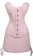a059 Pink Faux Leather Corset and Skirt